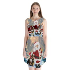 Merry Christmas, Santa Claus With Funny Cockroach In The Night Sleeveless Chiffon Dress
