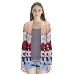 Merry Christmas, Santa Claus With Funny Cockroach In The Night Drape Collar Cardigan