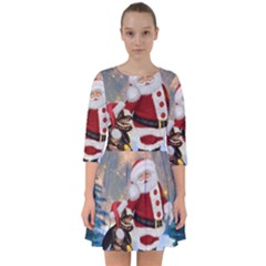 Merry Christmas, Santa Claus With Funny Cockroach In The Night Smock Dress by FantasyWorld7