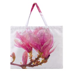 Wild Magnolia Flower, Watercolor Art Zipper Large Tote Bag by picsaspassion