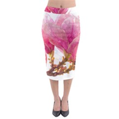 Wild Magnolia Flower, Watercolor Art Midi Pencil Skirt