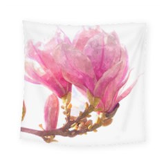 Wild Magnolia Flower, Watercolor Art Square Tapestry (small)