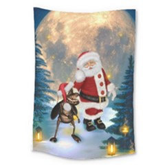 Merry Christmas, Santa Claus With Funny Cockroach In The Night Large Tapestry
