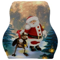 Merry Christmas, Santa Claus With Funny Cockroach In The Night Car Seat Velour Cushion