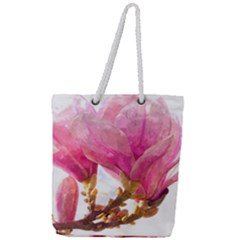Wild Magnolia Flower, Watercolor Art Full Print Rope Handle Tote (large) by picsaspassion
