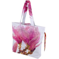 Wild Magnolia Flower, Watercolor Art Drawstring Tote Bag by picsaspassion