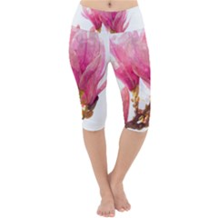 Wild Magnolia Flower, Watercolor Art Lightweight Velour Cropped Yoga Leggings by picsaspassion