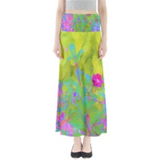 Red Rose With Stunning Golden Yellow Garden Foliage Full Length Maxi Skirt