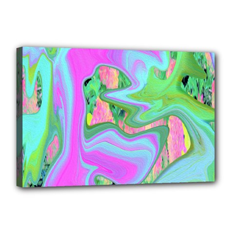 Retro Pink And Light Blue Liquid Art On Hydrangea Garden Canvas 18  X 12  (stretched)