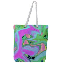 Retro Pink And Light Blue Liquid Art On Hydrangea Garden Full Print Rope Handle Tote (large)