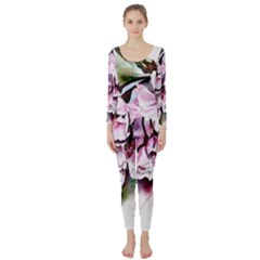 Watercolour Cherry Blossoms Long Sleeve Catsuit