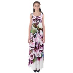 Watercolour Cherry Blossoms Empire Waist Maxi Dress