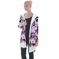 Watercolour Cherry Blossoms Longline Hooded Cardigan