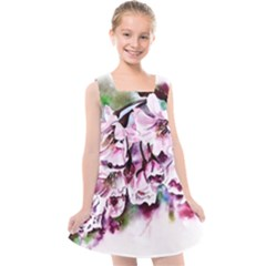 Watercolour Cherry Blossoms Kids  Cross Back Dress