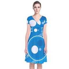 Background Blue Modern Creative Short Sleeve Front Wrap Dress