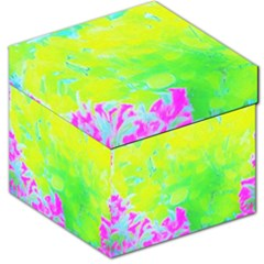 Fluorescent Yellow And Pink Abstract Garden Foliage Storage Stool 12   by myrubiogarden