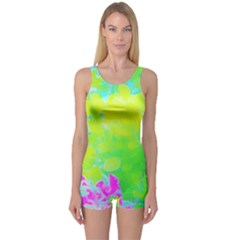 Fluorescent Yellow And Pink Abstract Garden Foliage One Piece Boyleg Swimsuit by myrubiogarden