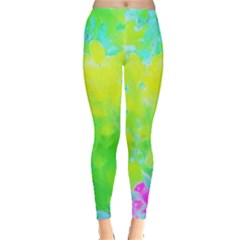 Fluorescent Yellow And Pink Abstract Garden Foliage Leggings  by myrubiogarden
