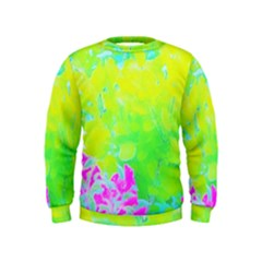 Fluorescent Yellow And Pink Abstract Garden Foliage Kids  Sweatshirt