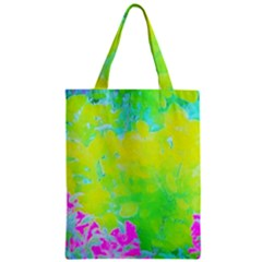 Fluorescent Yellow And Pink Abstract Garden Foliage Zipper Classic Tote Bag