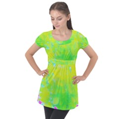 Fluorescent Yellow And Pink Abstract Garden Foliage Puff Sleeve Tunic Top