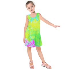 Fluorescent Yellow And Pink Abstract Garden Foliage Kids  Sleeveless Dress