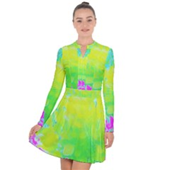 Fluorescent Yellow And Pink Abstract Garden Foliage Long Sleeve Panel Dress