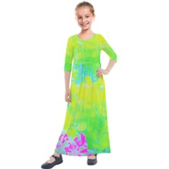 Fluorescent Yellow And Pink Abstract Garden Foliage Kids  Quarter Sleeve Maxi Dress