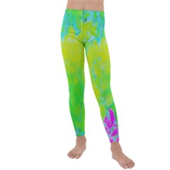 Fluorescent Yellow And Pink Abstract Garden Foliage Kids  Lightweight Velour Leggings