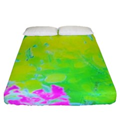 Fluorescent Yellow And Pink Abstract Garden Foliage Fitted Sheet (queen Size)