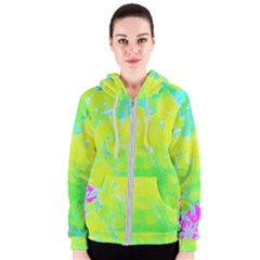 Fluorescent Yellow And Pink Abstract Garden Foliage Women s Zipper Hoodie