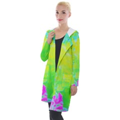 Fluorescent Yellow And Pink Abstract Garden Foliage Hooded Pocket Cardigan