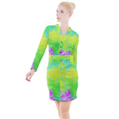 Fluorescent Yellow And Pink Abstract Garden Foliage Button Long Sleeve Dress
