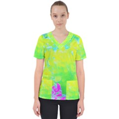 Fluorescent Yellow And Pink Abstract Garden Foliage Women s V Neck Scrub Top by myrubiogarden