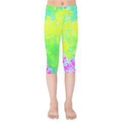 Fluorescent Yellow And Pink Abstract Garden Foliage Kids  Capri Leggings