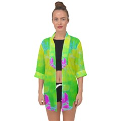 Fluorescent Yellow And Pink Abstract Garden Foliage Open Front Chiffon Kimono