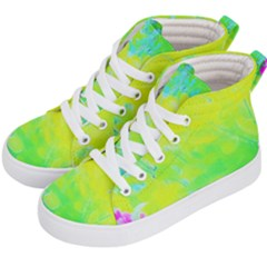 Fluorescent Yellow And Pink Abstract Garden Foliage Kid s Hi Top Skate Sneakers by myrubiogarden