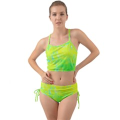 Fluorescent Yellow And Pink Abstract Garden Foliage Mini Tank Bikini Set