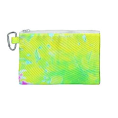 Fluorescent Yellow And Pink Abstract Garden Foliage Canvas Cosmetic Bag (medium)