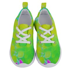 Fluorescent Yellow And Pink Abstract Garden Foliage Running Shoes by myrubiogarden