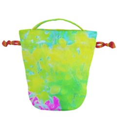 Fluorescent Yellow And Pink Abstract Garden Foliage Drawstring Bucket Bag by myrubiogarden