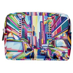 City Street Car Road Architecture Make Up Pouch (medium)