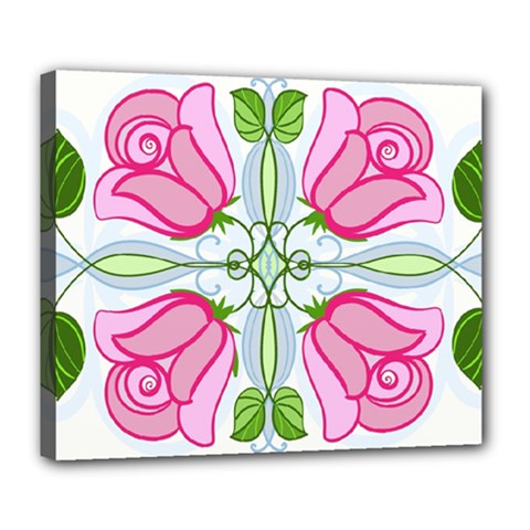 Figure Roses Flowers Ornament Deluxe Canvas 24  X 20  (stretched)