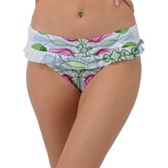 Figure Roses Flowers Ornament Frill Bikini Bottom