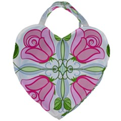 Figure Roses Flowers Ornament Giant Heart Shaped Tote
