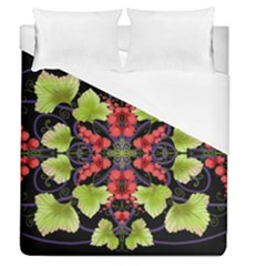 Pattern Berry Red Currant Plant Duvet Cover (queen Size)