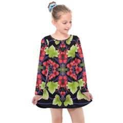 Pattern Berry Red Currant Plant Kids  Long Sleeve Dress by Bejoart