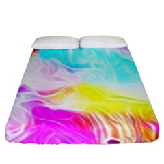 Background Drips Fluid Colorful Fitted Sheet (king Size)