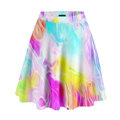 Background Drips Fluid Colorful High Waist Skirt
