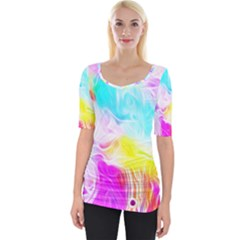 Background Drips Fluid Colorful Wide Neckline Tee